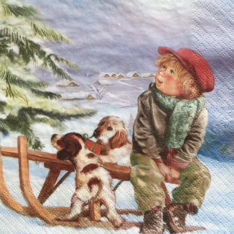 Χαρτοπετσέτα με χριστουγεννιάτικο σχέδιο 17*17                              (5)